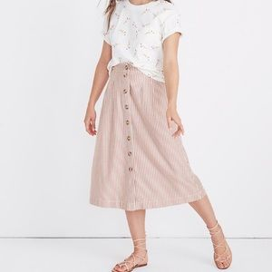 Madewell patio pleated button front skirt